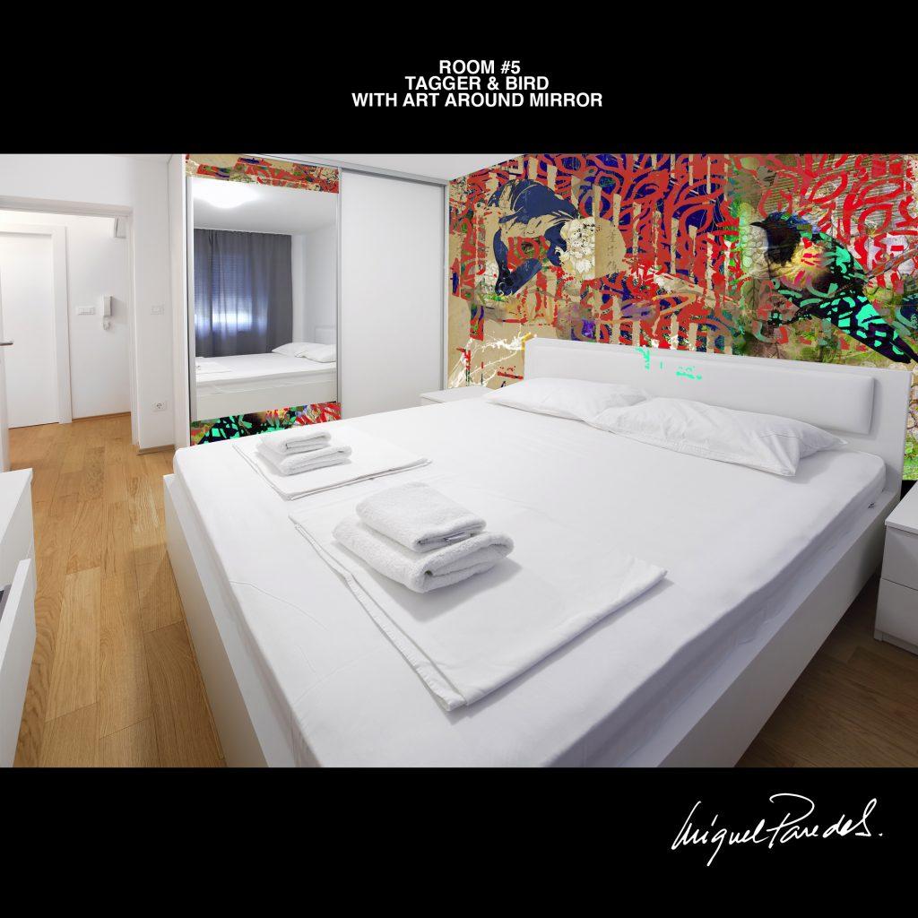 Room #5 Tagger & Bird with Art Around Mirror